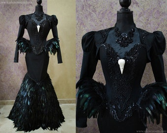 black swan haute goth corset dress gothic feathers raven skull witch costume vampire wedding ball masquerade halloween outfit corsetry