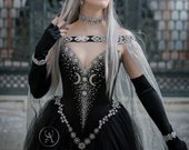 Black Silver Night Goddess Elven Corset Dress with Cape ~ Celestial Wedding Gown ~ Elf Bridal Cloak ~ Witchy Style Starry Triple Moon Gown