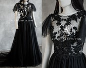Bohemian Style Black Wedding Dress ~ Modern Witch Backless Dress ~ Wings Sleeves Gothic Bridal Gown ~ Alternative Halloween Wedding Gown