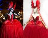 Phoenix Gothic Red Wedding Dress ~ Dramatic Fantasy Ball Gown ~ Vampire Wedding Dress ~ Halloween Feathered Corset Costume Goth Prom Dress