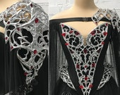 Elven Warrior Princess Couture Fantasy Gothic Wedding Gown ~ Haute Goth Dress Fairytale Ball Costume ~ Halloween Armor Bridal Outfit Corset
