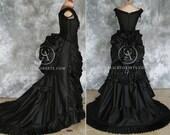 Taffeta Beaded Gothic Victorian Bustle Gown with Train ~ Vampire Ball Masquerade Halloween Black Wedding Dress ~ Steampunk Goth 19th century