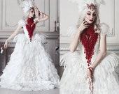 Haute Gothic Wedding Dress Feathers Gown Bloody Vampire Bridal Dress Alternative Red Wedding Dress Halloween Wedding Ball Masquerade Gown