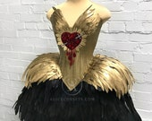 Bleeding Heart Gothic Fashion Corset Dress ~ Saint Style Haute Goth Ball Outfit ~ Feathers Halloween Wedding Gown ~ Dark Swan Couture Corset