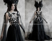 Alternative Black Wedding Dress with Cape Wings Gothic Halloween Gown Veil Modern Witch Custom Black Lace Wedding Dress Dark Goth Prom Dress
