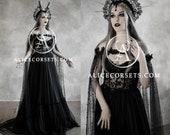 Dark Fairytale Wedding Dress with Cupped Corset Bodice Gothic Black Bridal Dress Halloween Vampire Gown & Cape Wiccan Fantasy Wedding Cloak