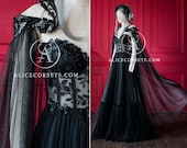 Luxury Gothic Fairytale Wedding Dress Cupped Corset Bodice ~ Black Bridal Gown ~ Halloween Vampire Cape ~ Wiccan Fantasy Masquerade Cloak