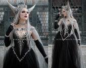 Fantasy Wedding Dress Celestial Bridal Cape Night Goddess Witchy Pagan Wedding Dress Fairytale Starry Elven Cloak Wiccan Triple Moon Gown
