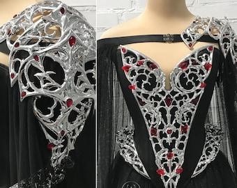 Gothic Fantasy Wedding Dress Elven Bridal Dress Cape Warrior Princess Fantasy Gown Veil Halloween Wedding Armor Corset Dress Fairytale Cloak