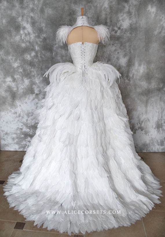 Haute Gothic Wedding Gown Feathers Overbust Corset Bloody Etsy