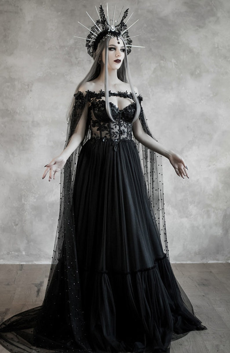 Dark Fairytale Wedding Dress With Cupped Corset Bodice Gothic Black Bridal Gown Halloween Vampire Cape Wiccan Fantasy Wedding Cloak
