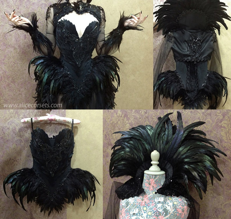 d3990b28b0 Witch Crow Feathers Overbust Corset Gothic Hip Fins Haute