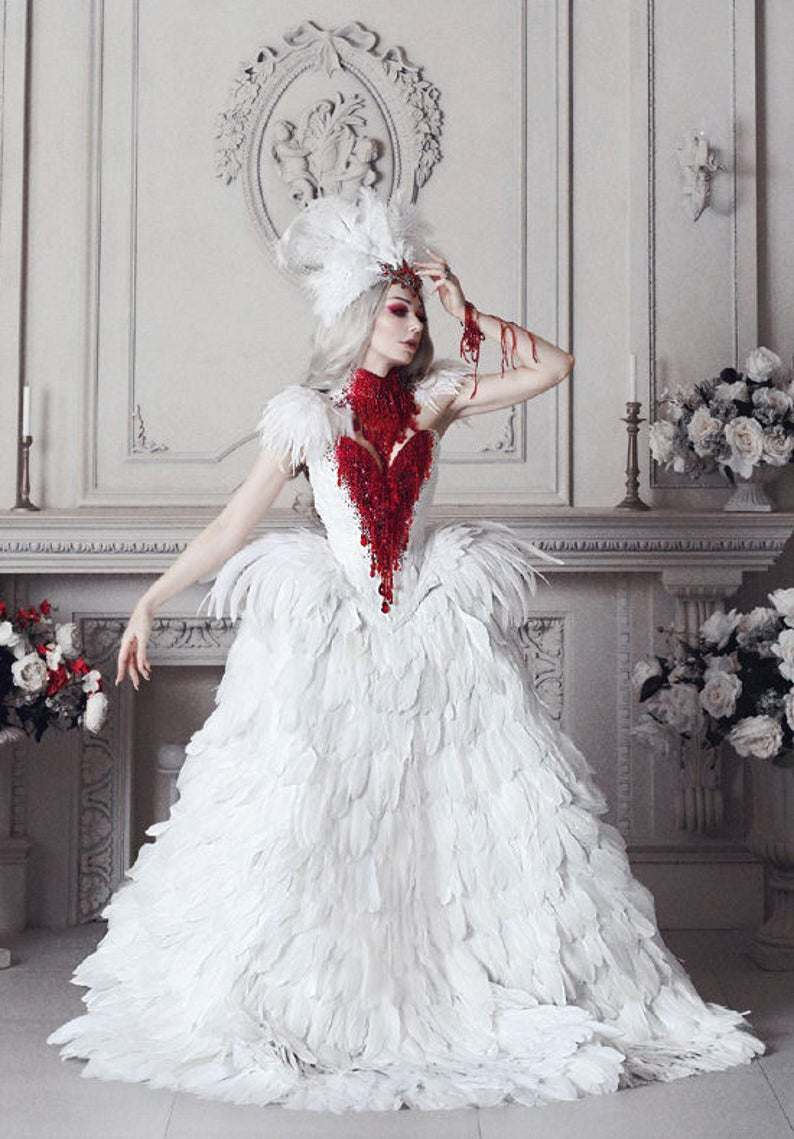 8e40426053 Haute Gothic Wedding Gown Feathers Overbust Corset Bloody