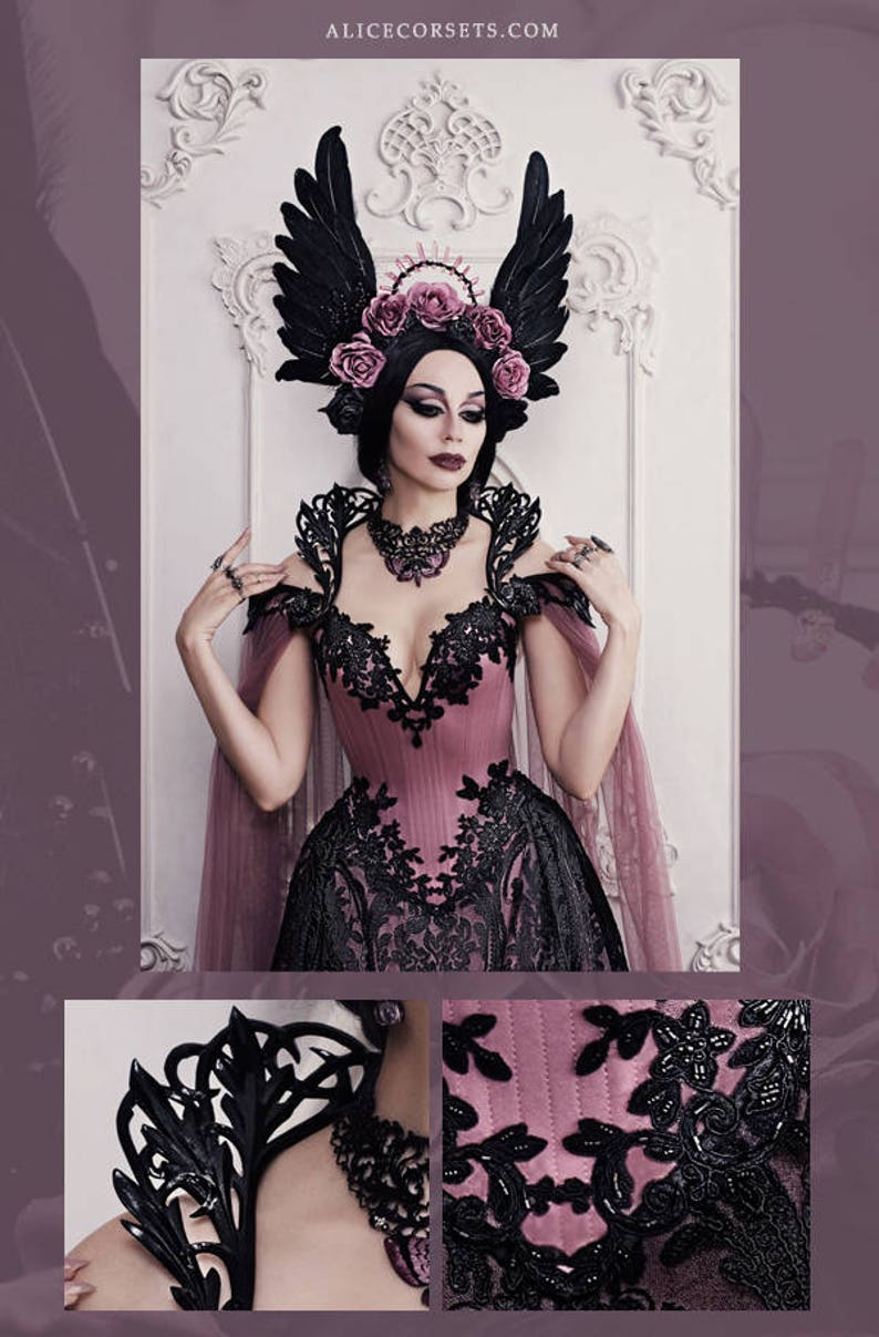 696aa870ec Couture Gothic Wedding Gown Beaded Overbust Corset Haute