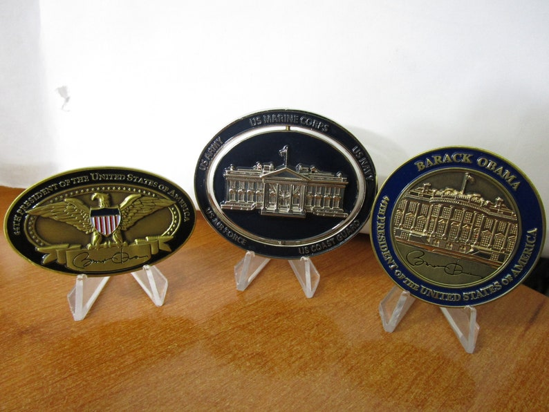 Set of 3 Presidential Challenge Coins President of The United States POTUS  Barack Obama & Spinning White House