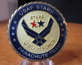 USAF Special Tactics and Rescue Specialist *  Stars Parachute Team *  PJ * CCT * Pararescue * Combat Control Team Challenge Coin #4602