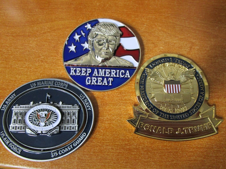 Set of 3 Presidential Challenge Coins Donald Trump Make America Great Again  , Re-elect Trump Keep America Great & Spinning White House