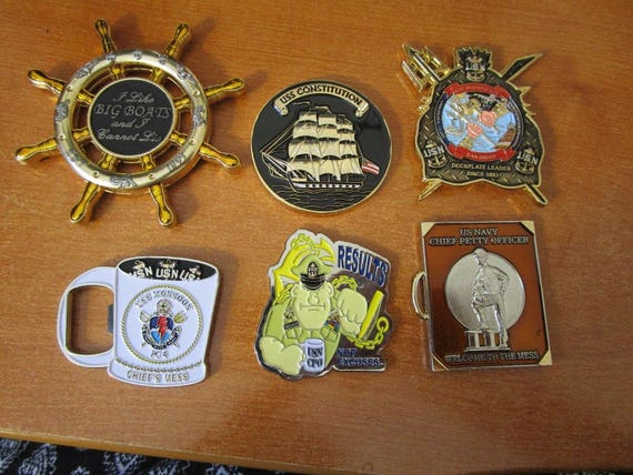 Lot of 6 Naval CPO Challenge Coins CPO Constitution USS Monsoon Charge Book  Big Boats