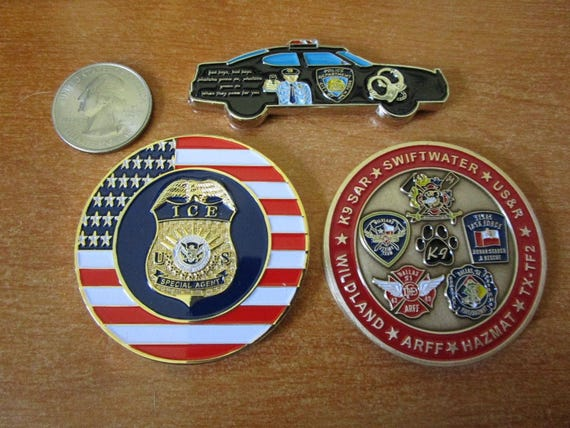 Set of 3 Challenge Coins NYPD Car Dallas Fire Dept Special Operations Las  Vegas ICE