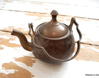 Vtg 1940s metal TEAPOT with opened lid Ornament alloy engraved Kettle vintage collectible teapot Vintage tea pot brass kettle vtg C01/1335