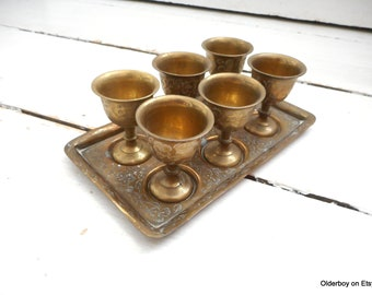 Vtg 6 small GOBLETS with tray brass ornamented chalices six little cups vintage metal cups home decor little collectible eggs cups i06/1521