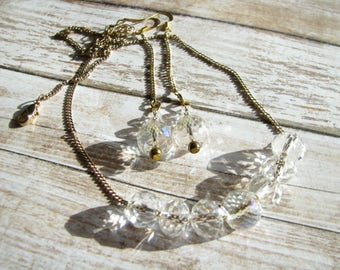 Jewelry set White jewelry Bridesmaid jewelry Crystal jewelry Gift for her