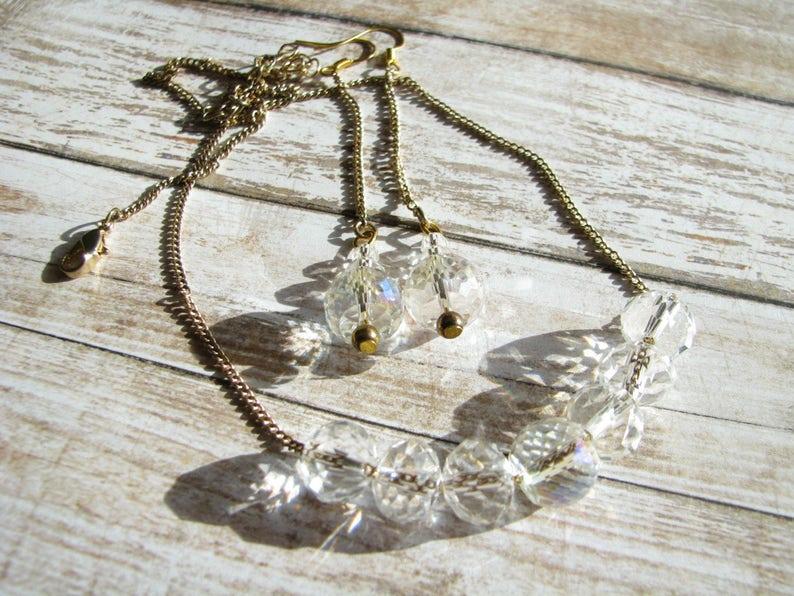 Jewelry set White jewelry Bridesmaid jewelry Crystal jewelry image 0