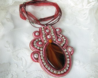 Statement necklace Brown Red necklace Brown Necklace Carnelian pendant Rhinestone Pink pendant Gem gift Evening necklace Valentine day gift
