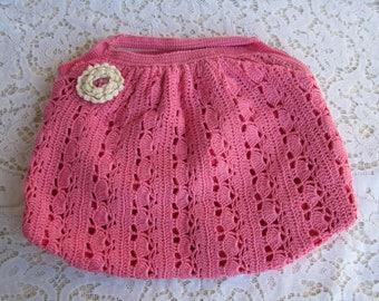 Pink small bag Pink handbag Pink crochet bag Hand Knitting bag Crochet Pouch Crochet tote daughter gift Shabby bag Handmade bag Girl gift
