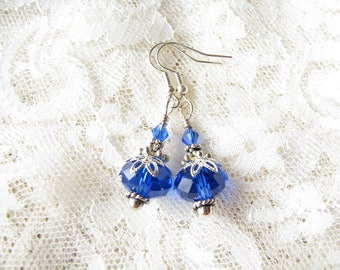 Blue earrings Dangle earrings Drop earrings Silver earrings Bridal earrings Bridesmaid earrings Xmas gift Edwardian earrings