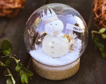 Personalized Snowman Snow Globe Custom Christmas Decoration Family Ornament Waterless Globe Snow Dome Personalization Ornament Gift