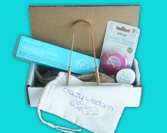 Healthy mouth gift set / Highest quality Coconut and clay toothpaste / Smart floss / Copper tongue cleaner/ Discounted set