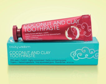 Coconut and  Clay Toothpaste/ Alkalizing / Remineralizing / Oil pulling / Gum health / Whitening  /  Organic medicinal ingredients