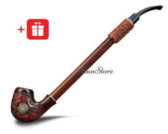 LONG Churchwarden VIKINGS Smoking pipe Personalized Gift for Boyfriend TRIBAL Tobacco pipe Wooden Groomsmen Gifts Birthday Custom Engraving