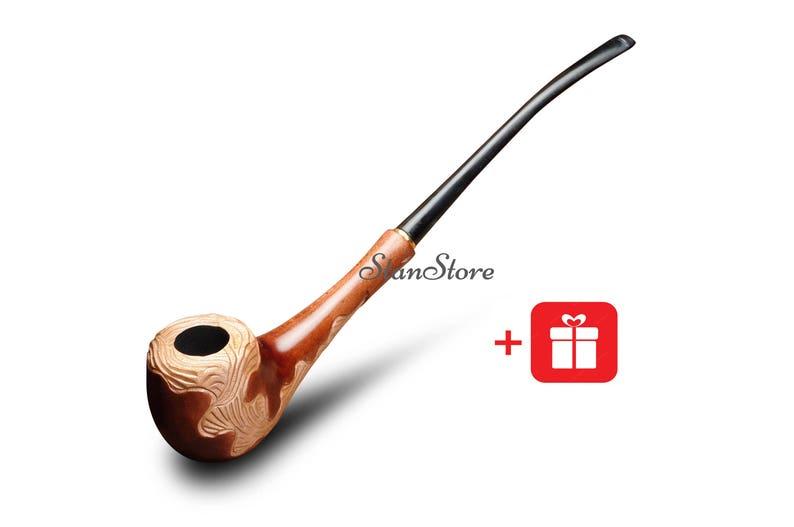 Churchwarden Wooden Smoking Pipe Long Wooden Tobacco Smoking Pipe Smoking Bowl Hand Carved Groomsmen Wedding Gift Birthday Gift For Him