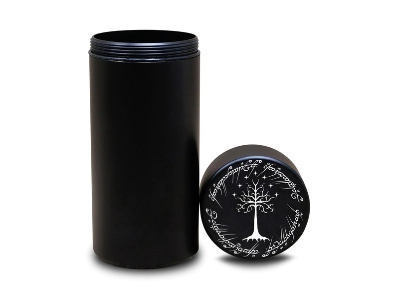 Stash Jar Smell Proof Case Container Black Herb Grinder Lord of the Rings Engraved Spice Grinder Tobacco Crusher Gift Stoners Smokers