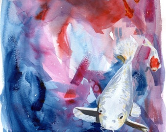 "Print, Galaxy Koi 8.5"" x 11"" - Part of ""Galaxy Surfer"" Series - Art Print, Digital Print, Artwork"