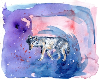 "Print, Galaxy Wolf 8.5"" x 11"" - Part of ""Galaxy Surfer"" Series - Art Print, Digital Print, Artwork"