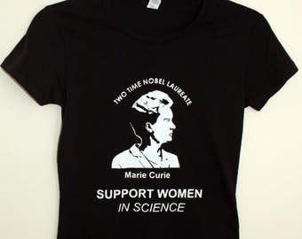 Female Fitted T-shirt, Support Women in Science, Marie Curie
