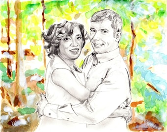 Custom Wedding Portrait, Anniversary Gift, Custom Illustration, Custom Couple Drawing, Personalized Portrait, Commission, Watercolor