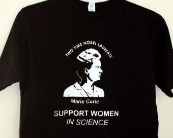 Handmade Screen Printed, Unisex T-shirt, Marie Curie, Support Women in Science,