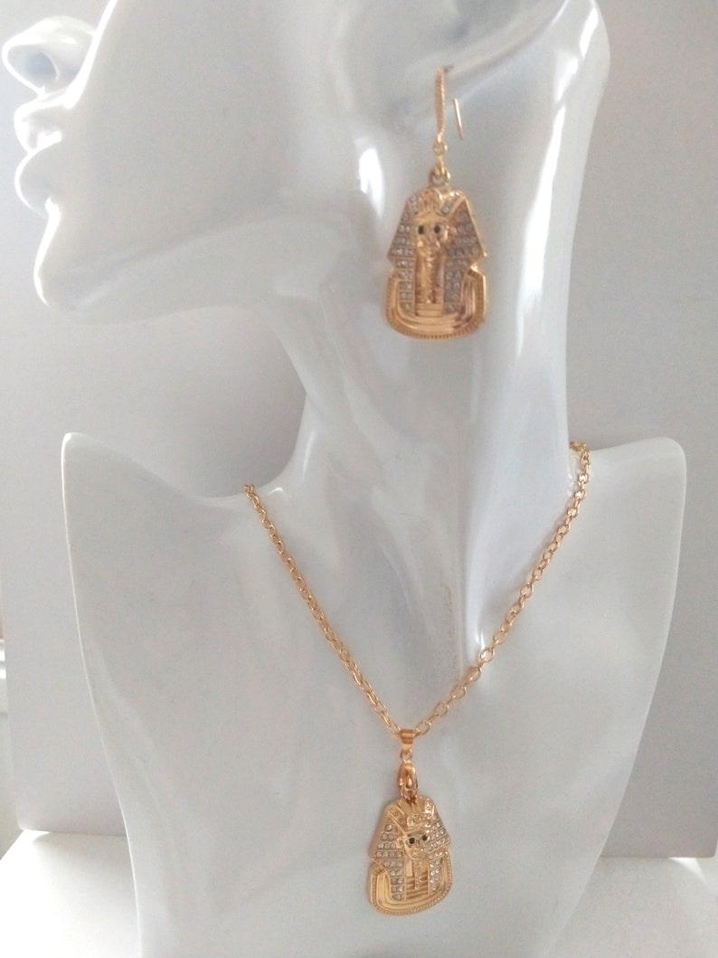 Pharaoh Rhinestone Bling Champagne Gold Earring and Necklace Set Statement Piece Ancient Egypt Style Stage Wear