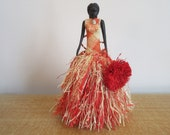 Museum HAWAIIAN DOLL Hula Girl Dancing Hand Carved EBONY Sculpture Articulated Arms