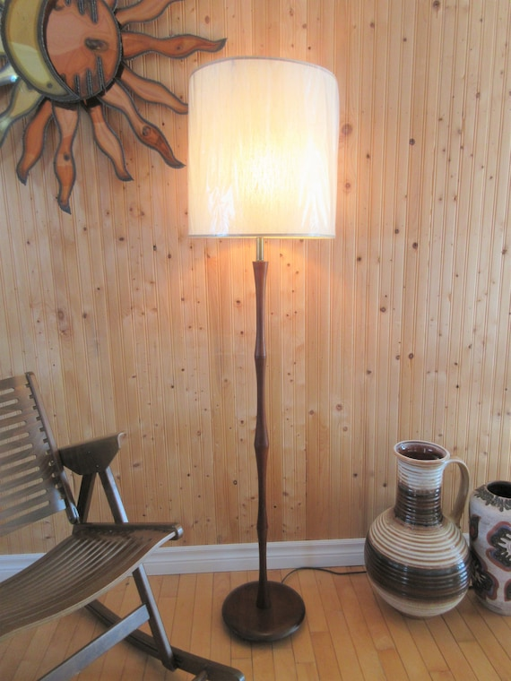 Mid Century Teak Wood Floor Lamp Danish Danemark Sweden Modern