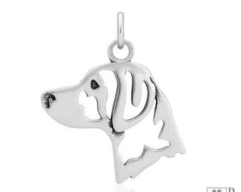 Sterling Silver Brittany Spaniel Pendant, Head