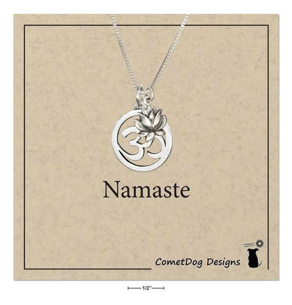 Sterling Silver Om Or Ohm Symbol Pendant Necklace With Lotus Etsy