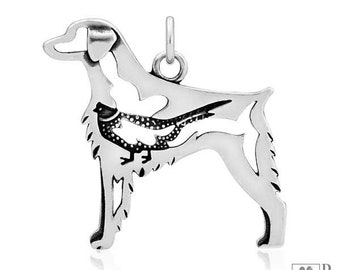 Sterling Silver Brittany Spaniel Pendant With Pheasant