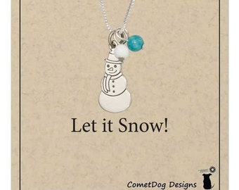 Sterling Silver Snowman Pendant Necklace with Blue and White Beads   Winter Jewelry, Snow Necklace, Snowman Charm, Let it Snow, Holiday Gift