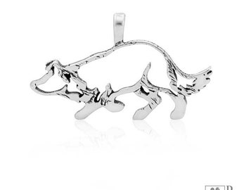 Sterling Silver Large Crouching Border Collie Pendant, Body