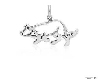 Sterling Silver Crouching Border Collie Pendant, Body